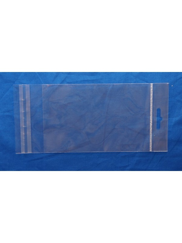 Headerbags voorzien van transparante versteviging met klep met kleefstrook